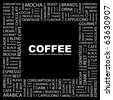 COFFEE. Word collage on black background. Illustration with different association terms. - stock photo