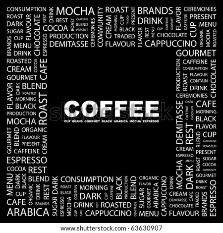 COFFEE. Word collage on black background. Illustration with different association terms.