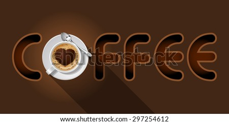 coffee word with top view of Cappuccino cup - stock vector