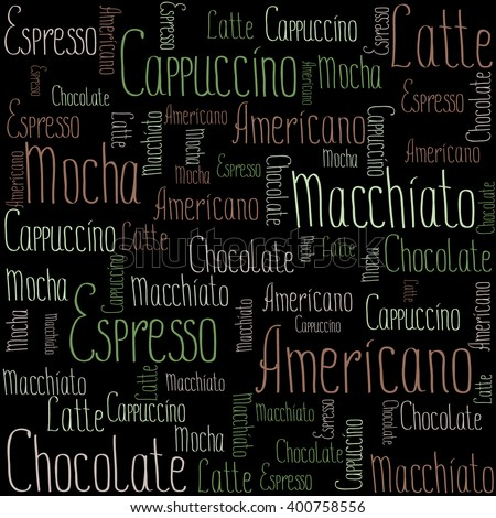 Coffee words background, vector illustration on black background - stock vector