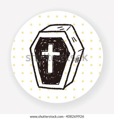 Coffin doodle - stock vector