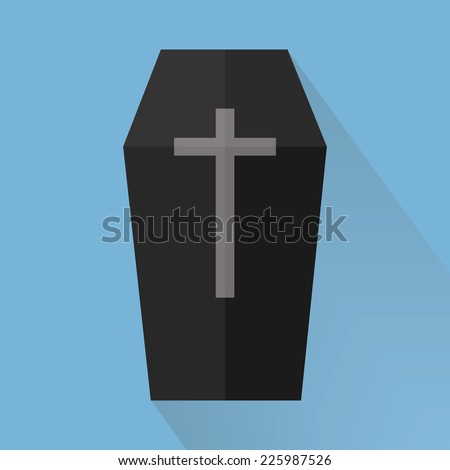 Coffin Vector, halloween, flat design, long shadow. - stock vector