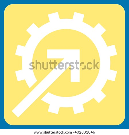 Cog Integration vector icon. Image style is bicolor flat cog integration icon symbol drawn on a rounded square with yellow and white colors.
