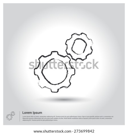 cog wheel setting icon, Sketch Doodle pictogram icon on gray background. Vector illustration - stock vector