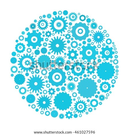 Cog wheels arranged in circle shape. Blue abstract vector illustration on white background.