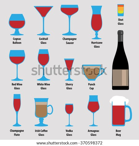 Cognac Balloon, Cocktail Glass, Champagne Saucer, Hurricane Glass, Shot Glass, Red Wine Glass, White Wine Glass, Sherry Glass, Punch Cup, Champagne Flute, Irish Coffee Glass, Vodka Glass, Beer Mug - stock vector