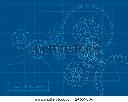 Cogs blueprint (layered for easy editing) - stock vector