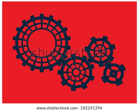 Cogs (gears) on a red background - stock vector