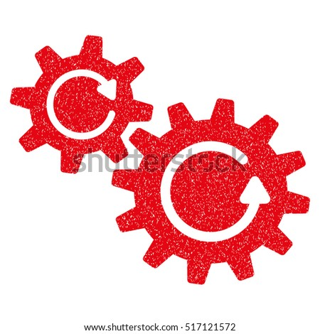 Cogs Rotation grainy textured icon for overlay watermark stamps. Flat symbol with scratched texture. Dotted vector red ink rubber seal stamp with grunge design on a white background.