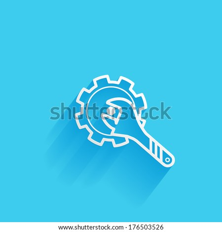 cogwheel & adjustable wrench, service icon, control Menu, flat icon isolated on a blue background for your design, vector illustration - stock vector