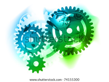 Cogwheel as blue and green background - stock vector