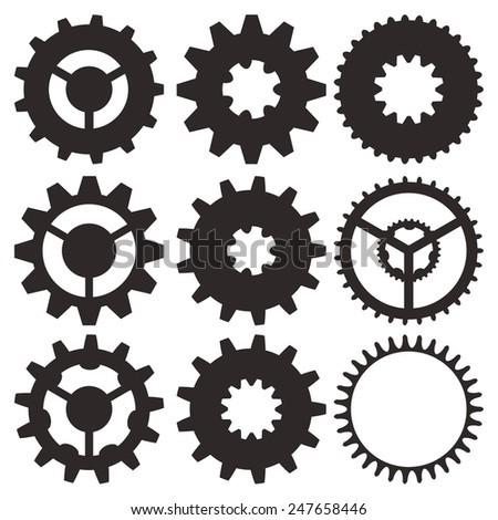Cogwheel collection machine gear, set of gear wheels vector illustration