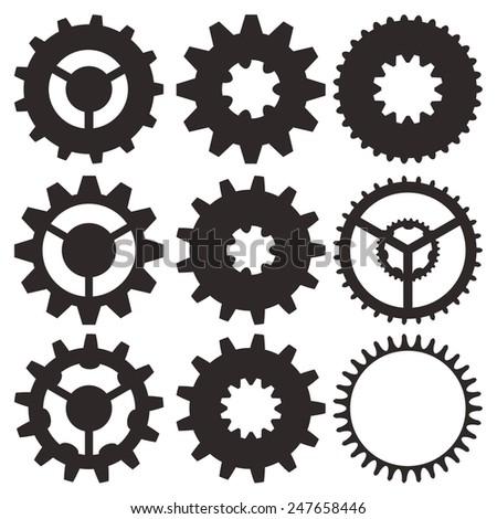 Cogwheel collection machine gear, set of gear wheels vector illustration - stock vector