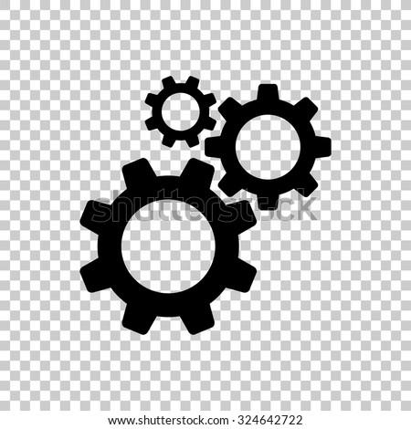cogwheel gear mechanism vector icon - black illustration - stock vector