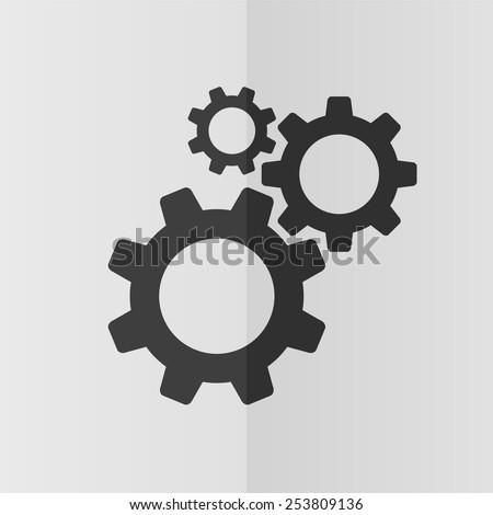 Cogwheel gear mechanism vector icon. Effect of folded paper. Flat design - stock vector