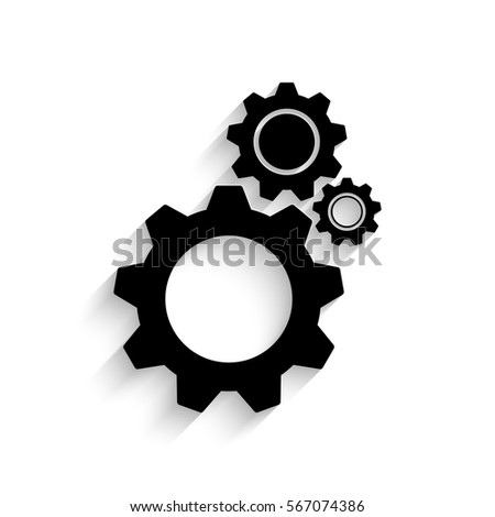 Cogwheel icon - black vector illustration with  shadow