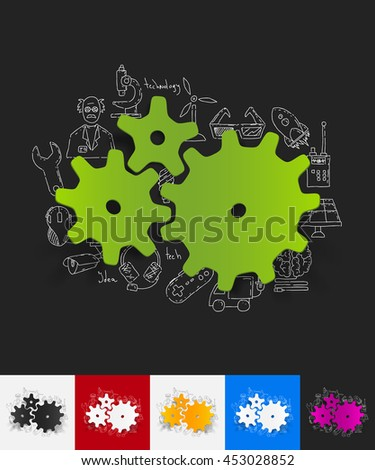 cogwheel paper sticker with hand drawn elements - stock vector