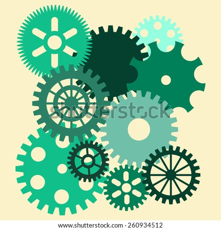 Cogwheels. Green. Vector collection. - stock vector