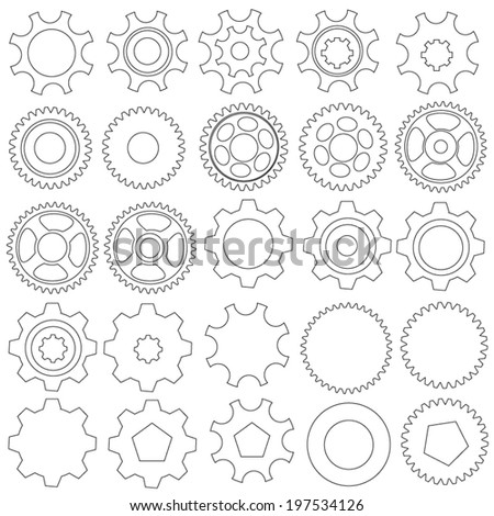 Cogwheels. Vector collection - stock vector