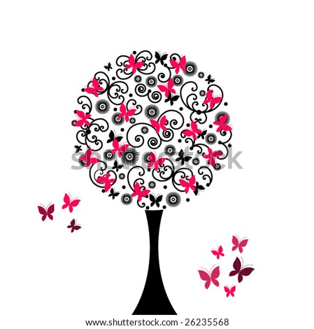 coil and butterfly tree - stock vector