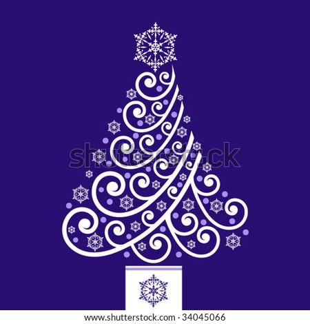 coil christmas tree over blue - stock vector
