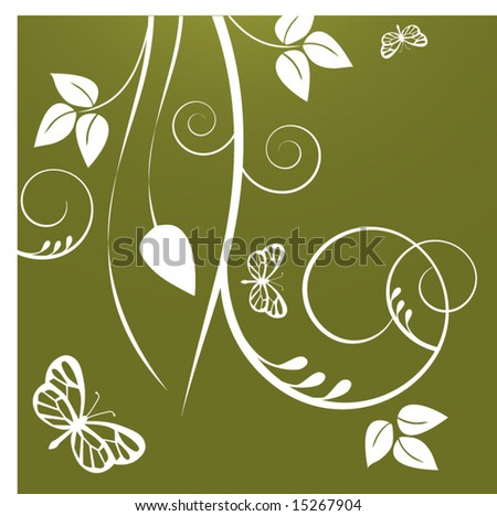 coil foliage with butterflies - stock vector