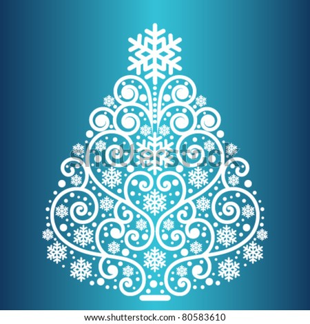 Coil snowflake christmas tree - stock vector