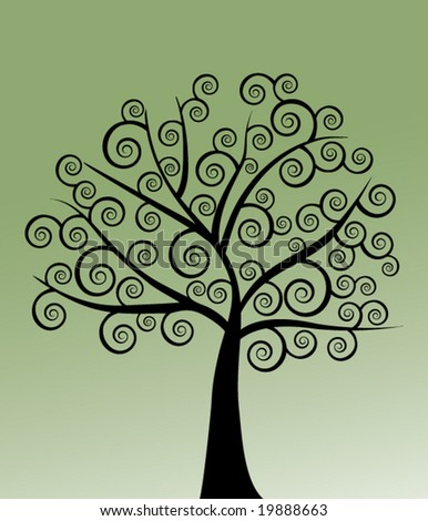 coil tree black on green