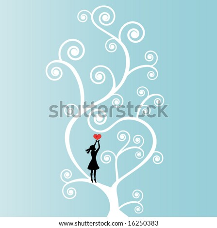 """coil tree with love heart and girl heart says """"love"""" - use with or without girl - stock vector"""
