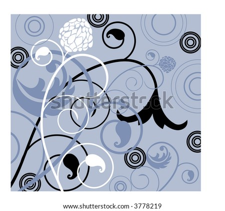 coils and leaves vector - stock vector