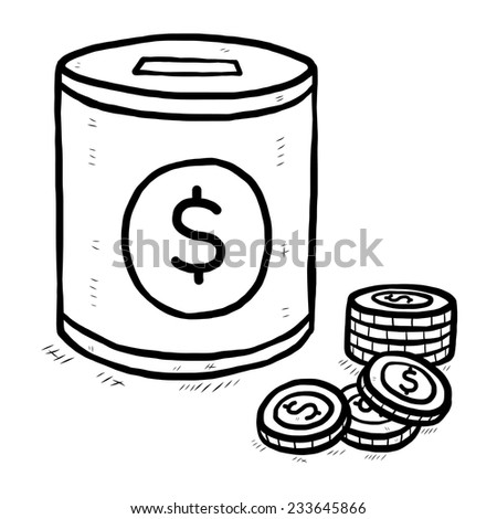 coin bank and coins with dollar sign / cartoon vector and illustration, black and white, hand drawn, sketch style, isolated on white background. - stock vector