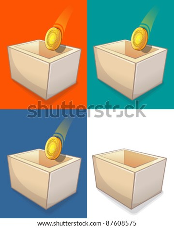 Coin box - stock vector