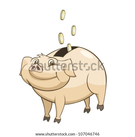 Coin box in the form of a pig - stock vector
