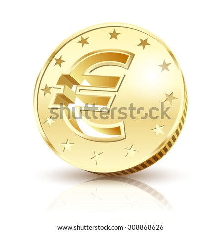 Coin Golden Euro isolated on a white background. Illustration Vector EPS10. - stock vector