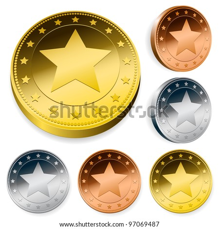 Coin Or Token Set With Star - stock vector