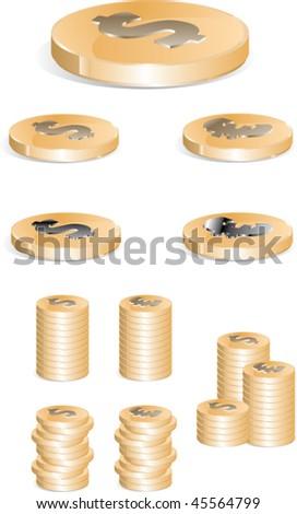 coins - stock vector