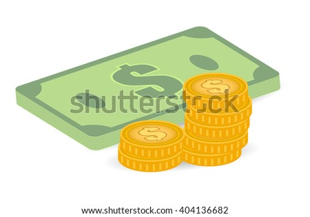 coins and bills illustration, 3d style