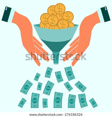 coins fall into the funnel in hands, vector illustration flat style - stock vector