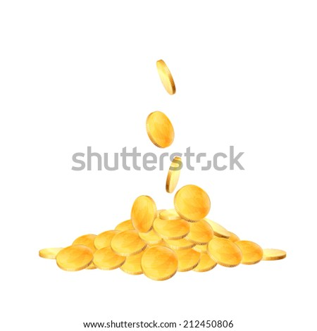 Coins falling on white background.  - stock vector