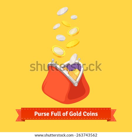 Coins falling to a retro money purse. Flat style vector illustration. - stock vector