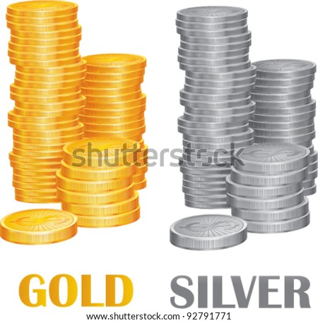 Coins gold and silver vector illustration - stock vector