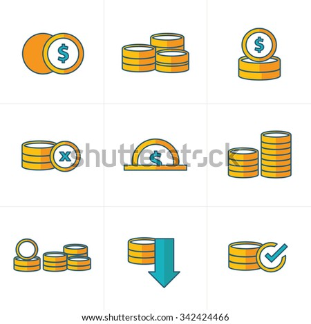 Coins Icons Set cute style - stock vector