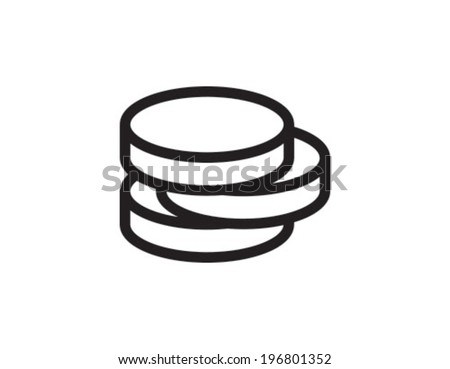 Coins Outline Icon Symbol - stock vector
