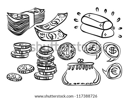 coins paper money gold purse monochrome  financial illustration  on white background - stock vector