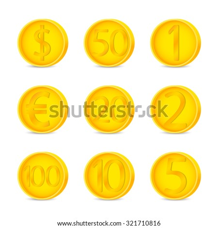 Coins set sign. Coins symbol. Coins on white background. Vector illustration - stock vector