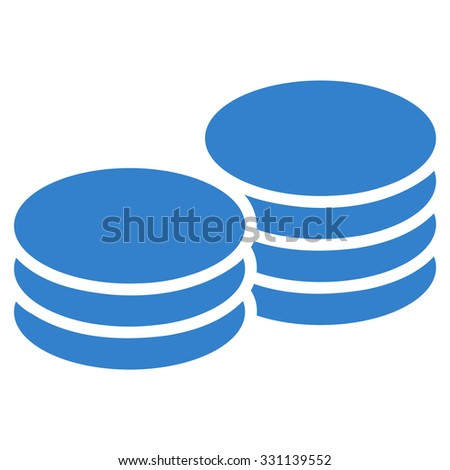 Coins vector icon. Style is flat cobalt symbol, rounded angles, white background.