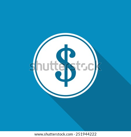 Coins with dollar sign flat icon on blue background - stock vector