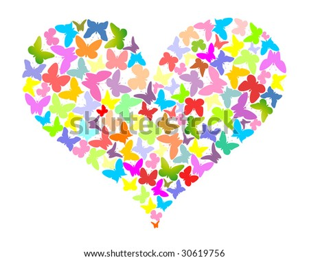 Col our butterflies in the form of heart - stock vector