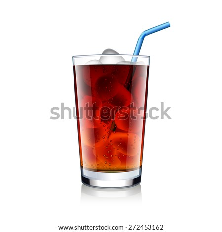 Cola glass with ice cubes isolated on white photo-realistic vector illustration - stock vector