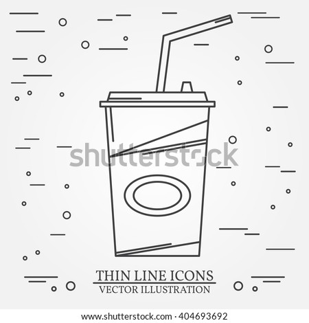 Cola icon.Vector thin line icon cola. For web design and application interface, also useful for infographics. Vector dark grey. Cola icon sign. Cola icon image.  - stock vector
